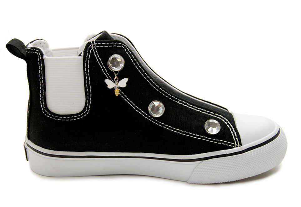 Speedster-Black w/clear rhinestones & white bee charms