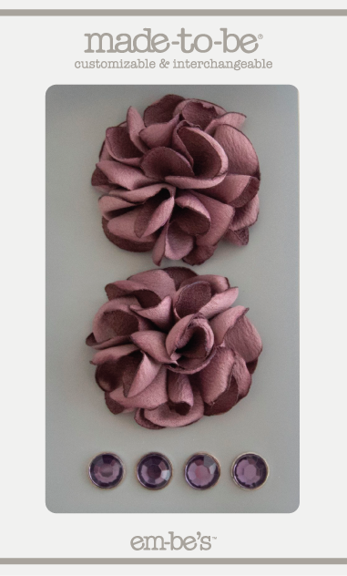 Satin Rosette Set - Dusty Purple