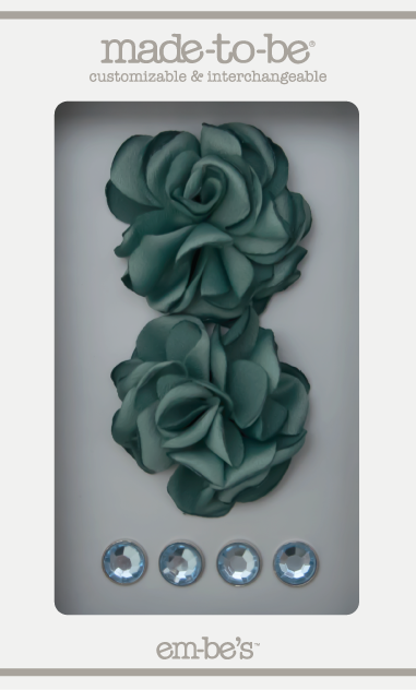 Satin Rosette Set - Dusty Teal