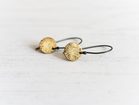 handmade sunrise earrings made of fine silver and fused 23kt gold by Kathi Roussel