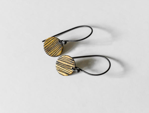 textured striped sun oxidized fine silver and fused gold earrings by Kathi Roussel