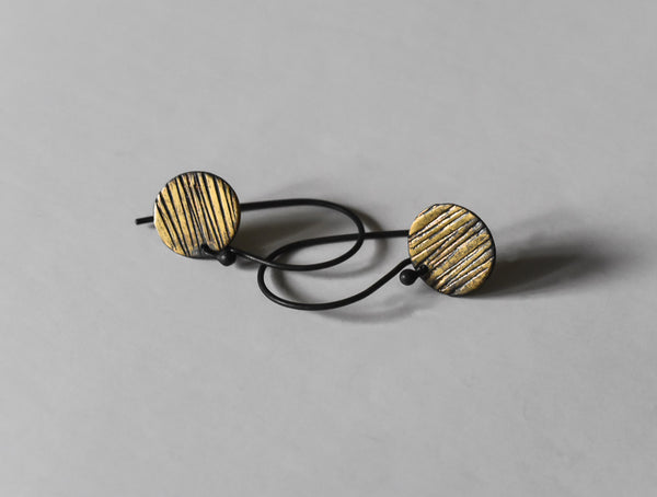 handmade striped sun oxidized fine silver and fused gold earrings by Kathi Roussel