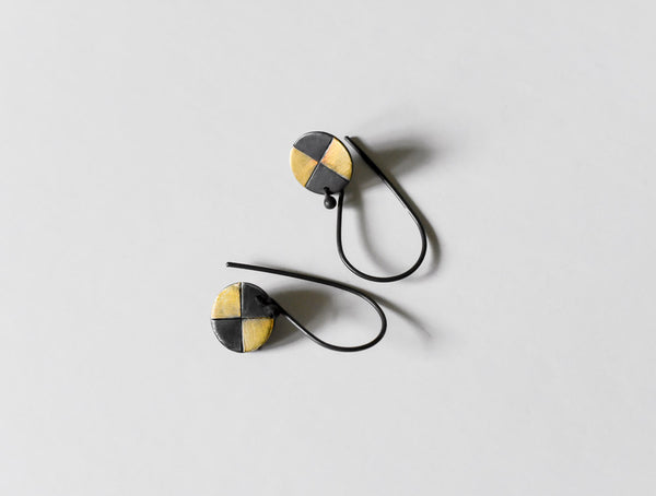 sun rays oxidized and fused 23kt gold handmade earrings by Kathi Roussel