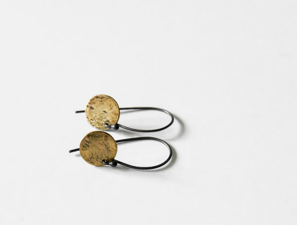handmade textured sunrise earrings made of fine silver and fused 23kt gold by Kathi Roussel
