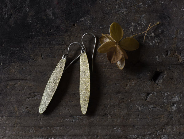 simple leaf hand made textured brass earrings by Kathi Roussel