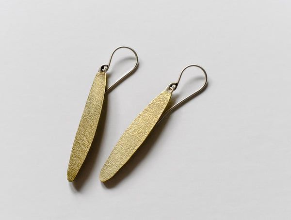 simple leaf textured brass earrings by Kathi Roussel