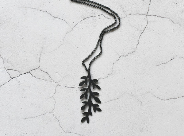 another front view of black leaves sterling silver pendant