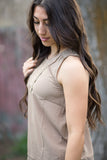 Peak of Lace Tank - Taupe
