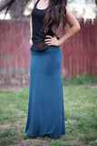 Blue Teal & Spice Striped Maxi Skirt