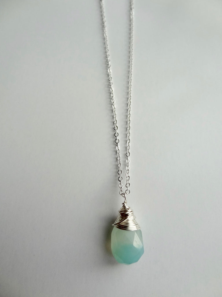 Gemstone Drop Necklace - Aqua