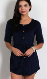 Navy Button Dress