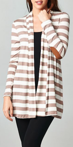 Striped Elbow Patch Cardigan - Taupe