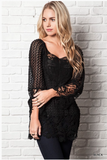 Dainty Sheer Lace Top - Black