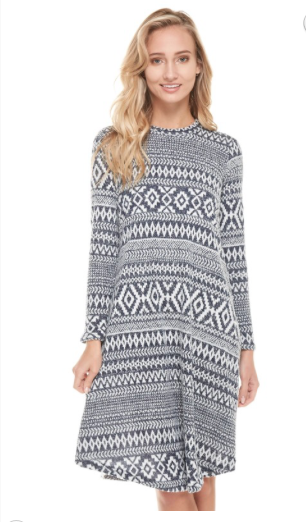 Navy Aztec Knit Dress