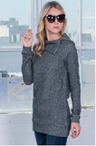 Cowl Neck Zipper Sweatshirt