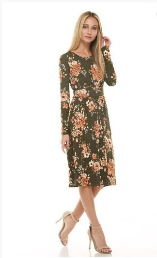 Wine Floral Long Sleeve Dress - Straight Hem