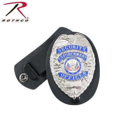 Leather Clip-on Badge Holder w/ Swivel Snap