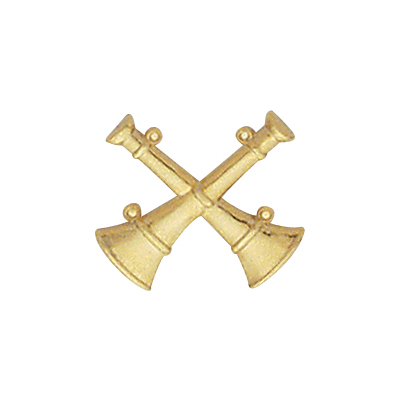 2 Bugle Crossed Collar Pin
