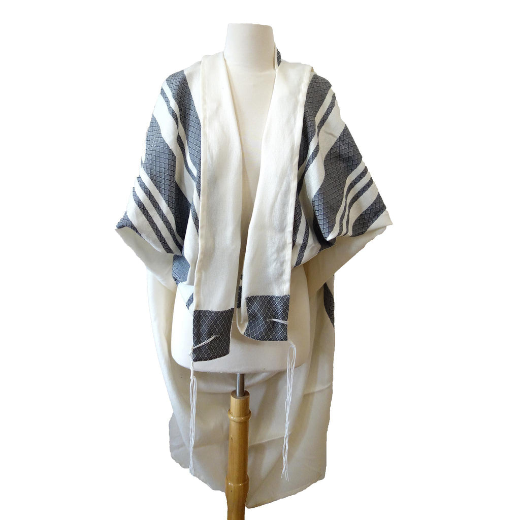 Gray Stripes Traditional Woven Tallit Gadol