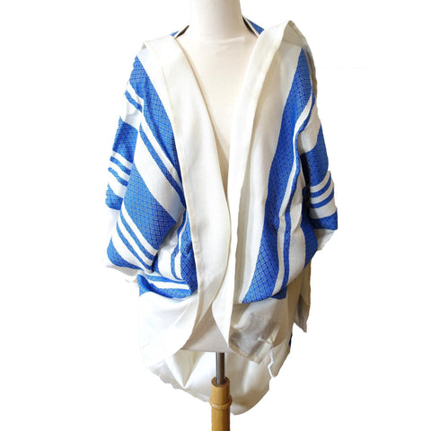 Blue Stripes Traditional Woven Tallit Gadol