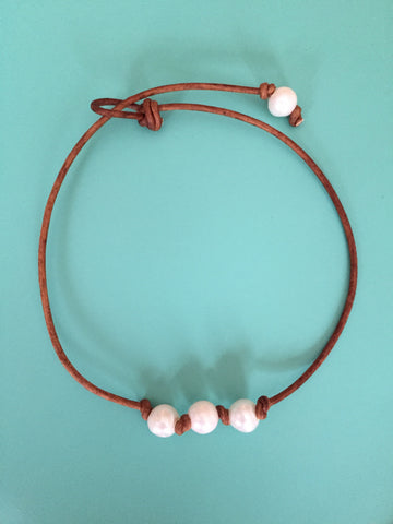 Triple Knotted White Pearl Necklace