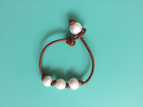 Triple Knotted White Pearl Bracelet