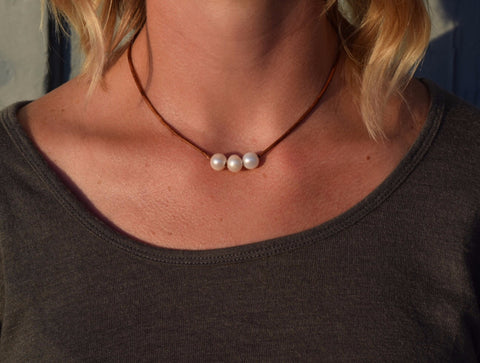 Triple White Pearl Necklace