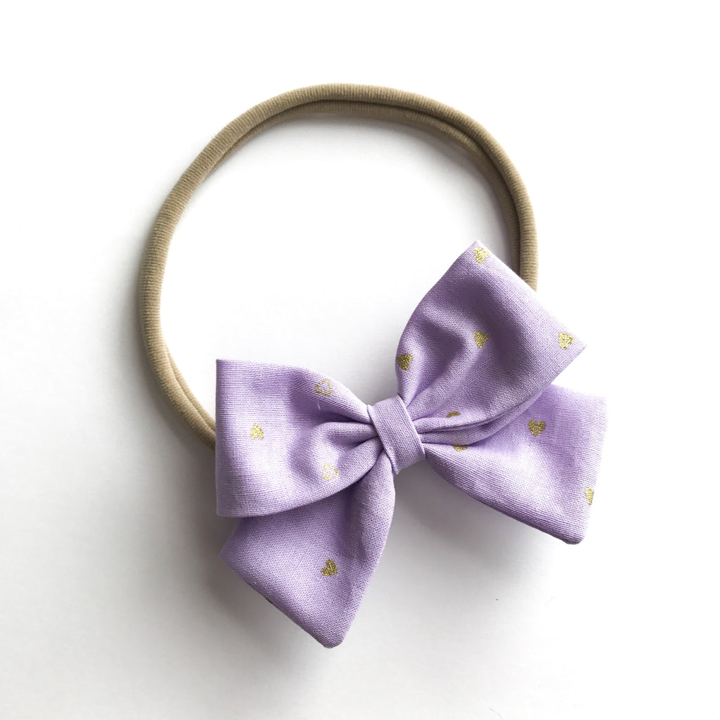 "Lavender and Hearts ""Ellie"" Bow"