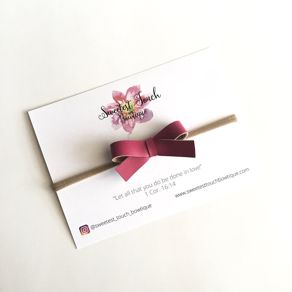 Beetroot Faux Leather Bow