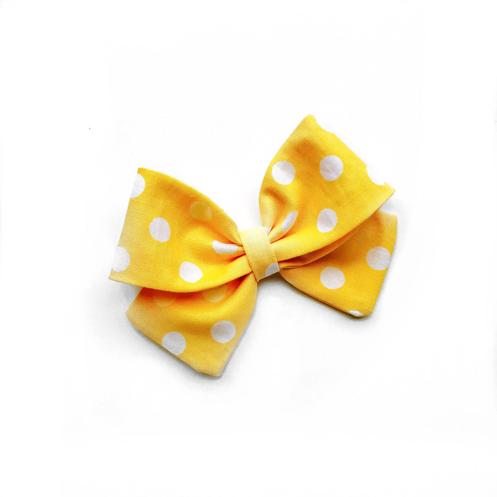 "Yellow Polka Dot ""Ellie"" Bow"