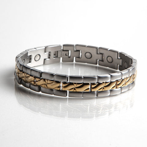 Magnetic Stainless Steel Bracelet with Gold Plating (L22)