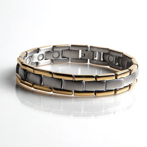 Magnetic Stainless Steel Bracelet with Gold Plating (L44)