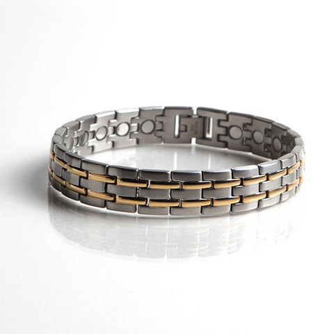 Magnetic Stainless Steel Bracelet with Gold Plating(L39)