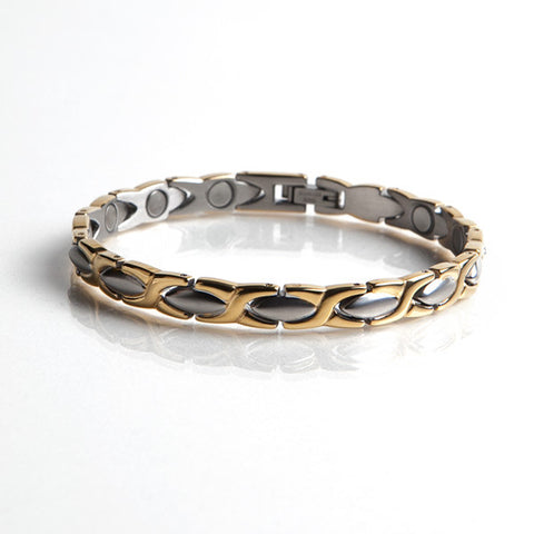 Magnetic Stainless Steel Bracelet with Gold Plating (L33)