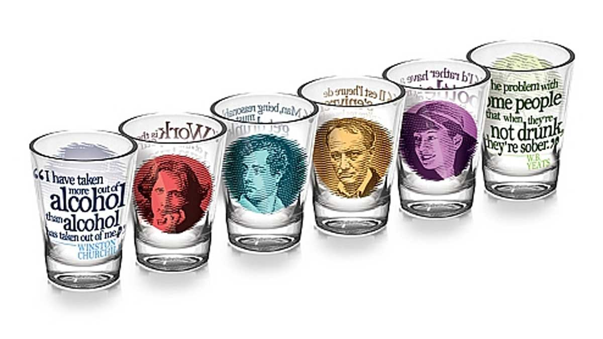 Great Authors Shot Glass Gift Set with Oscar Wilde
