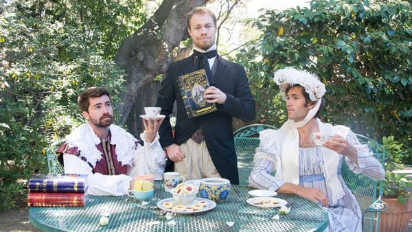 NovelTea Tins British Kickstarter Team Berkeley in Author Costumes