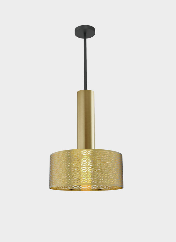 tubular form pendant light in brass