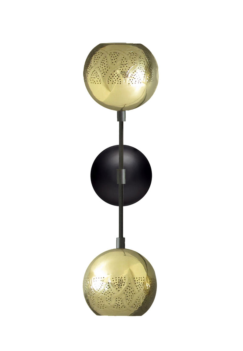 dounia home dual globe wall sconce brass