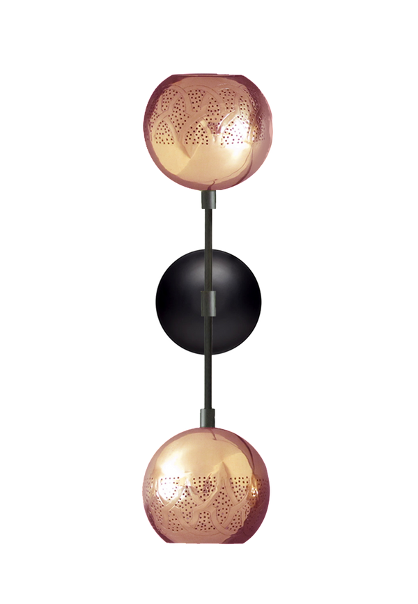 dounia home dual globe wall sconce copper