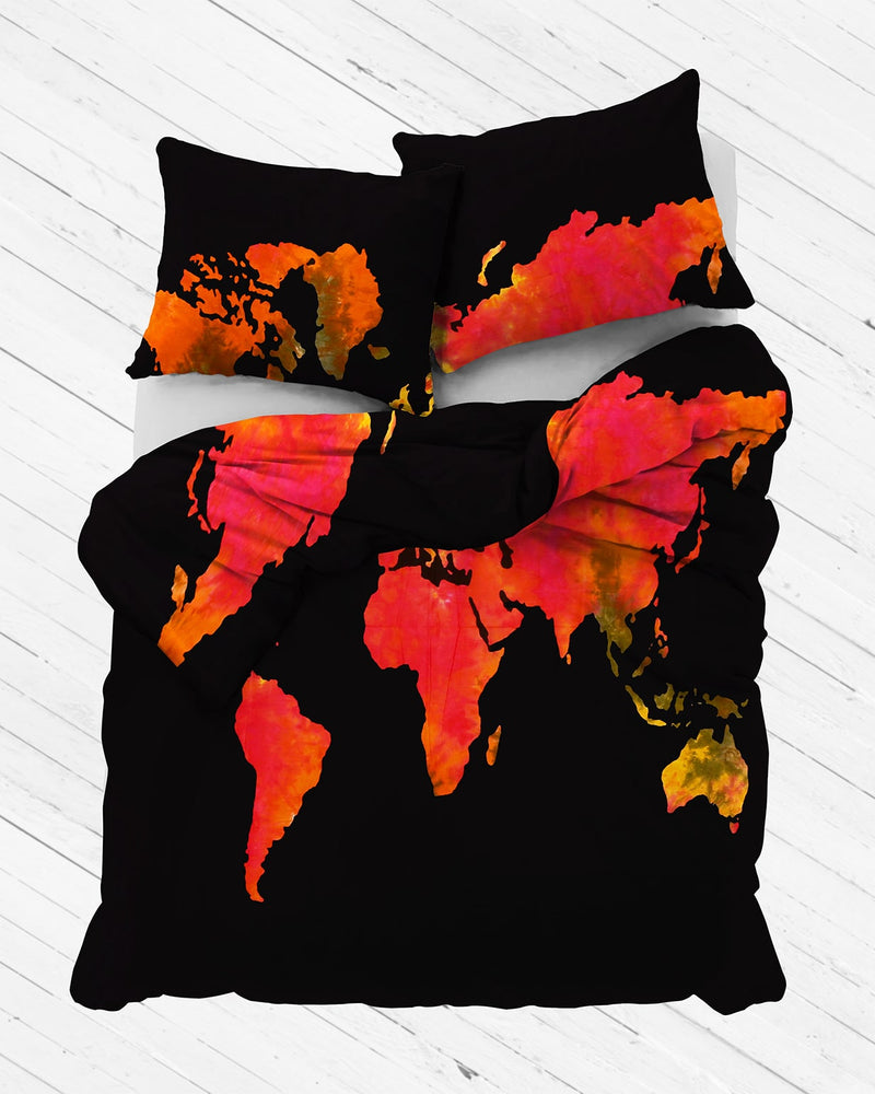Warm Tie Dye World Map Duvet Cover