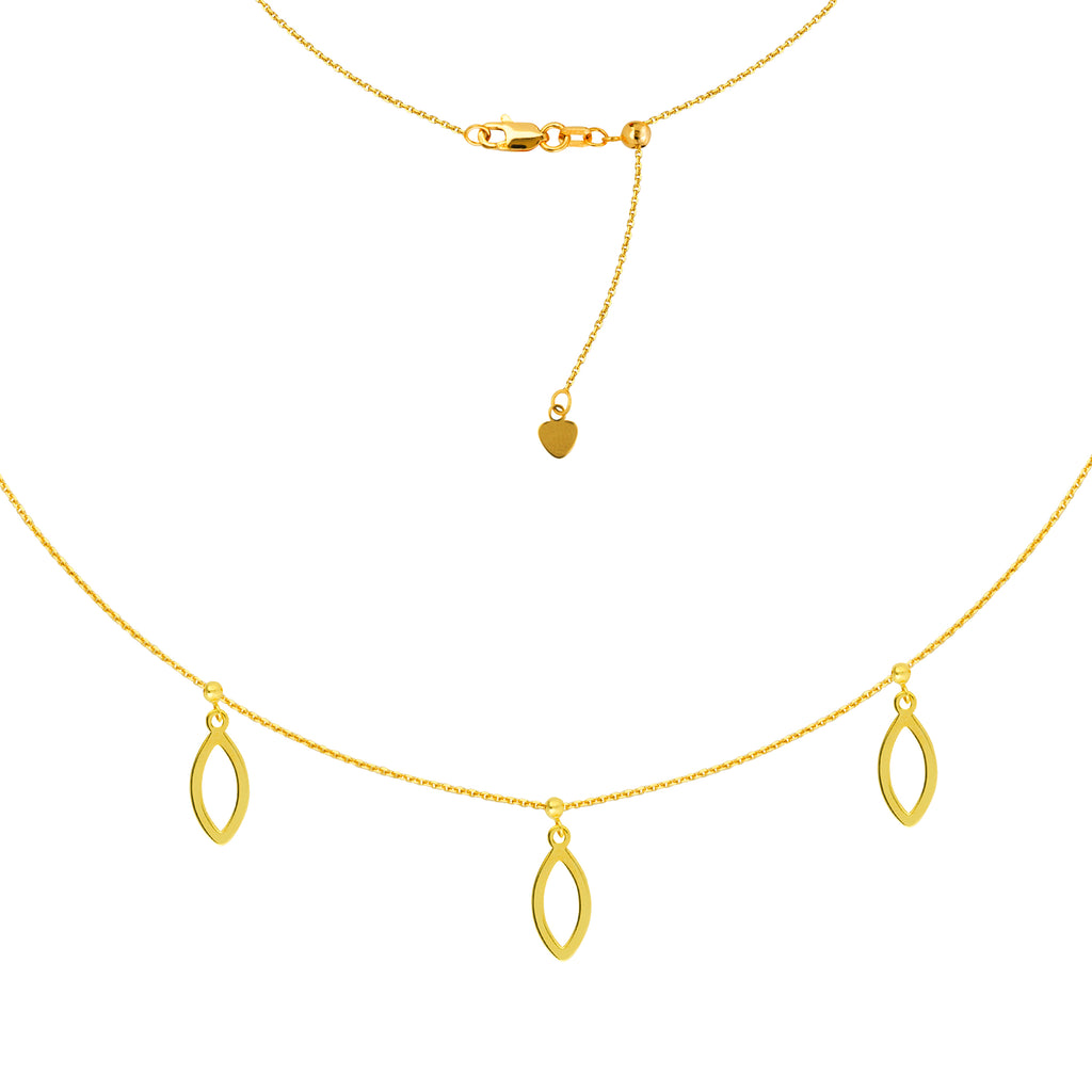 14k Gold Choker with Marquise Drop Charms
