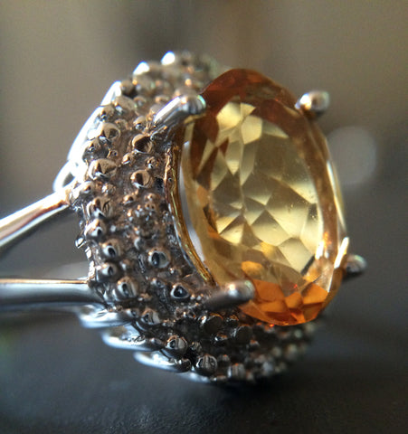 Sterling Silver Citrine Ring - Size 7 - LittleGemsUSA - 1