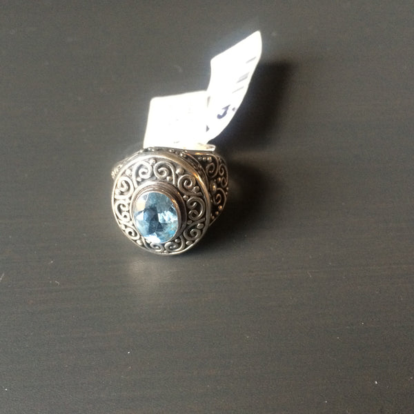 Artisian Blue Topaz Ring - Size 7 - LittleGemsUSA - 2