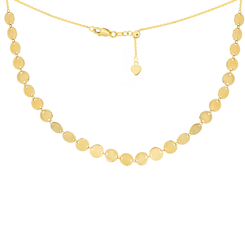 14k Gold Small Disk Adjustable Choker Necklace