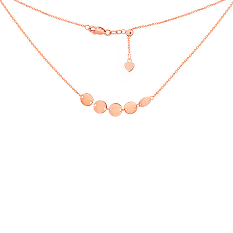 14k Gold 5 Mini Disk Adjustable Choker Necklace