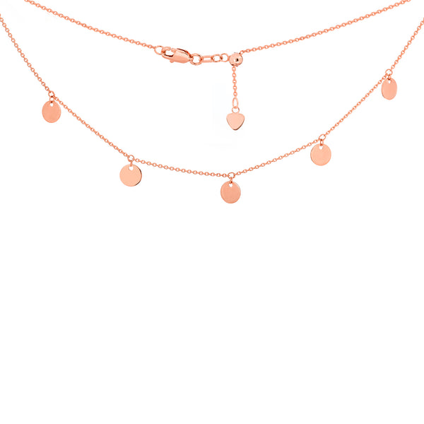 14k Gold 5 Mini Disk Dangle Ajustable Choker Necklace
