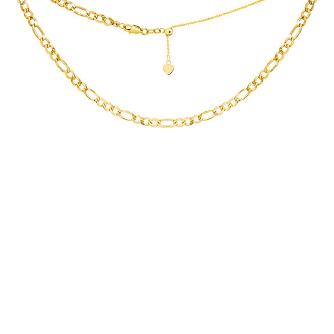 14k Gold Hollow 2.50mm FIGARO Adjustable Choker Necklace