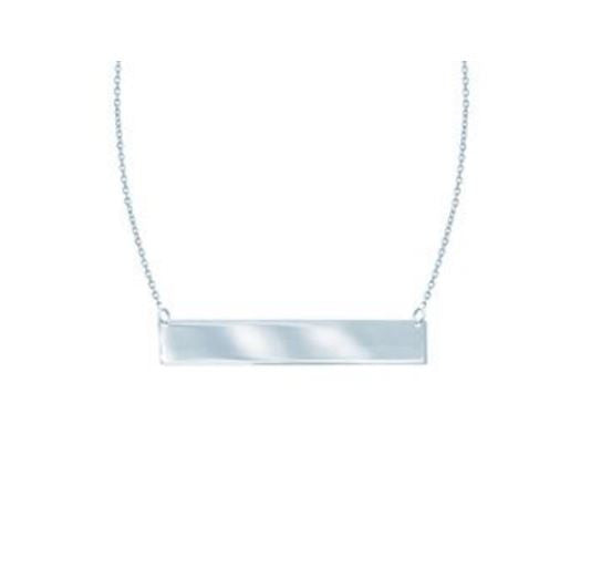 Small Sterling Silver Solid Bar Necklace