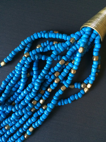 Blue Gold Seed Bead Necklace - LittleGemsUSA - 1