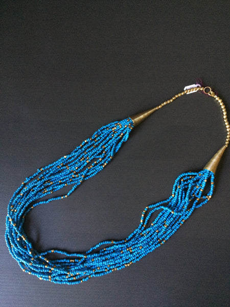 Blue Gold Seed Bead Necklace - LittleGemsUSA - 2